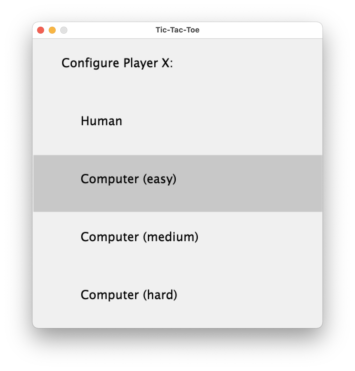 Configure Player X